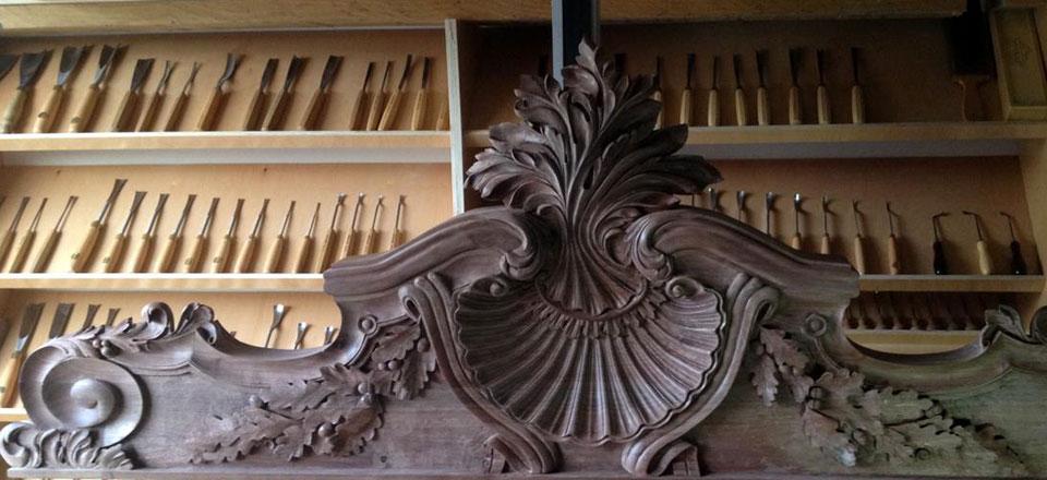 Decorative wood carving by master carver alexander
