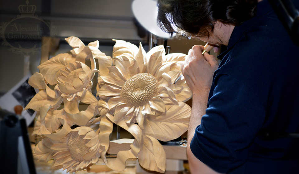 woodcarving sunflower hand carved